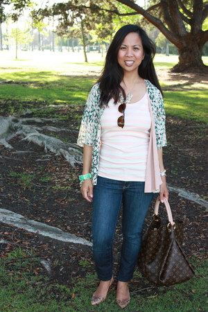 brown J Crew pumps - brown Louis Vuitton bag - light pink Forever 21 top