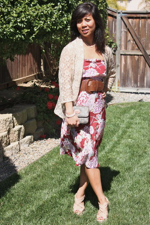 ruby red red thrifted diy dress - dark brown brown vintage Louis Vuitton bag - t