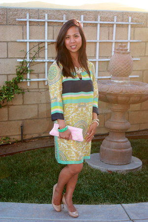 lime green Zara dress - light pink unlabeled bag - camel tory burch pumps