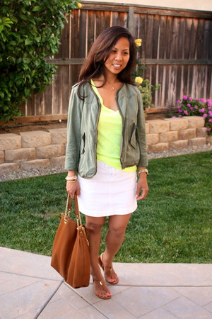 yellow Victorias Secret shirt - army green Anthropologie jacket