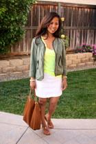 yellow Victorias Secret shirt - army green Anthropologie jacket