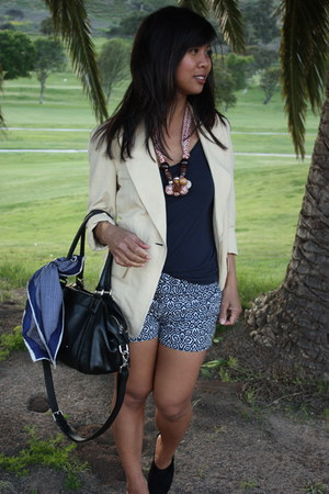 light yellow yellow thrifted blazer - black Cole Haan bag - navy blue jacquard J