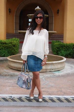 eggshell Forever 21 blouse - sky blue Rebecca Minkoff bag - blue Alfani flats