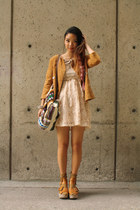 peach H & M dress - bronze flea market jacket - beige American Apparel bag