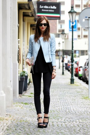 black Topshop shoes - black Topshop jeans - sky blue Zara jacket