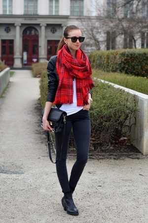 black vagabond boots - black Topshop jeans - black Choies jacket