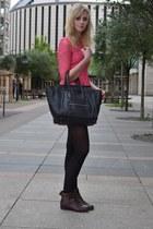 black Celine bag - dark brown H&M boots - hot pink Topshop dress