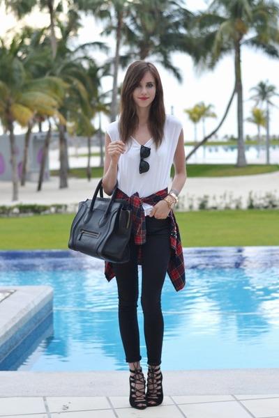 ruby red Choies blouse - ivory H&M shirt - dark brown Ray Ban sunglasses