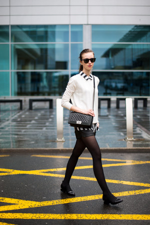 black Choies boots - black H&M tights - black Chanel bag