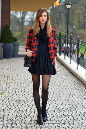 brick red vjstyle jacket - black vagabond boots - black H&M scarf