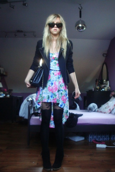 black Forever 21 boots - sky blue H & M dress - black Pimkie jacket