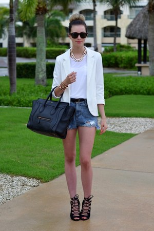white Sheinside blazer - black Celine bag - blue Sheinside shorts