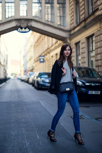 black asos shoes - blue Topshop jeans - black Sheinside jacket