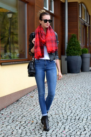 black Topshop shoes - black Sheinside jacket - ruby red H&M scarf