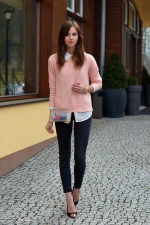 peach Choies sweater - black Topshop jeans - off white Choies bag