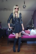 black Nasty Gal dress - black Topshop jacket - black Chanel purse