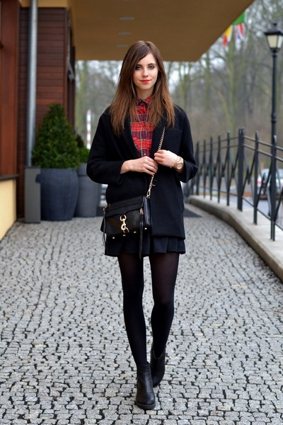 black vagabond boots - black Choies coat - brick red Choies shirt