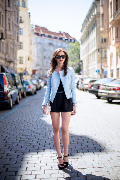 light blue Zara jacket - white Choies bag - dark brown Ray Ban sunglasses