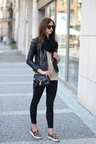 black Topshop jeans - brown PERSUNMALL shoes - black Sheinside jacket