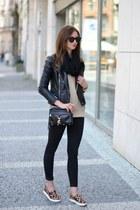 black Topshop jeans - brown PERSUNMALL shoes - black Sheinside jacket