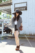black Romwecom hat - heather gray vintage blazer - dark brown vintage bag