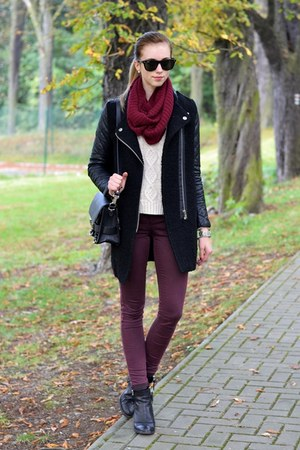 black Sheinside coat - crimson Topshop jeans - off white Chicwish sweater