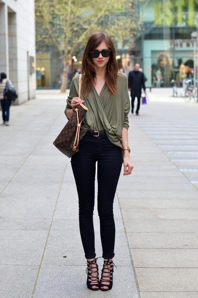 ace585d4c1e olive green Choies blouse - black Topshop jeans - brown Louis Vuitton bag