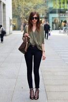 olive green Choies blouse - black Topshop jeans - brown Louis Vuitton bag