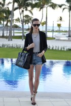 black Zara blazer - white Choies shirt - black Celine bag