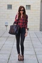 black Topshop jeans - black Celine bag - dark brown Ray Ban sunglasses