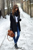 black Chicwish coat - blue Topshop jeans - brown Mulberry bag