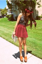 ruby red Topshop hat - white Chanel purse - ruby red Topshop skirt - black Forev