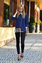 black Topshop jeans - navy Zara sweater - ivory transparent Choies bag