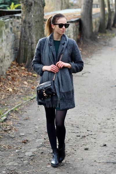 black H&ampM tights - forest green Sheinside dress - heather gray Choies coat