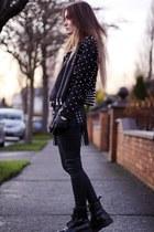 black leather handmade jacket