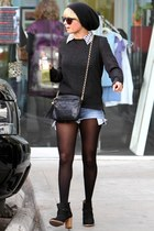 black Jeffrey Campbell boots - black Chanel bag - black Ray Ban sunglasses