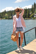 light pink Forever 21 blazer - nude Aldo bag - silver acne shorts