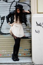 black Forever 21 hat - light pink Topshop dress - black H&M blazer