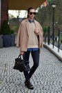 Black-topshop-jeans-camel-choies-jacket-beige-american-apparel-sweater