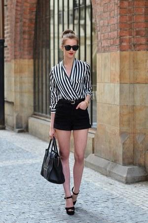 black Celine bag - black Choies shorts - dark brown Ray Ban sunglasses