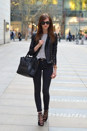 black Topshop jeans - black Sheinside jacket - white Choies shirt