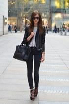 black Topshop jeans - black Sheinside jacket - white Choies shirt