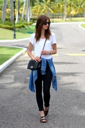 black Topshop jeans - black Chanel bag - dark brown Ray Ban sunglasses
