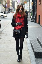 black vagabond boots - black Choies coat - ruby red H&M scarf