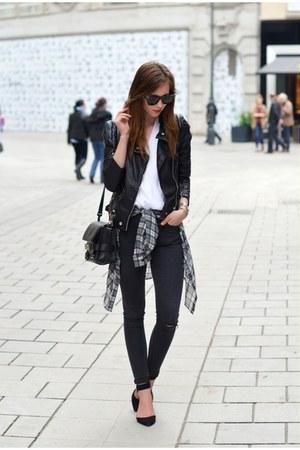black Topshop jeans - black Sheinside jacket - black PROENZA SCHOULER bag