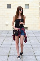 crimson Choies top - black Rebecca Minkoff bag - blue brandy melville shorts