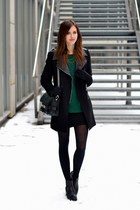 black vagabond boots - black Chicwish coat - dark green Sheinside sweater