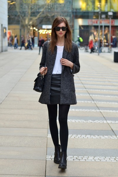 black vagabond boots - charcoal gray Choies coat - black PROENZA SCHOULER bag