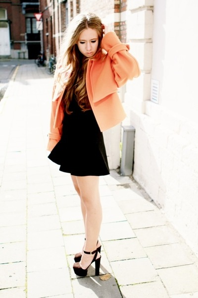 light orange Zara blazer - black Topshop dress - black YSL heels