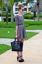 white Choies dress - black Celine bag - dark brown Ray Ban sunglasses